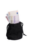 Borsa nera con soldi Fotografia Stock