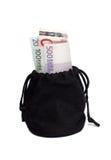 Borsa nera con soldi Fotografia Stock Libera da Diritti