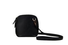 borsa nera isolata su fondo bianco con il percorso di ritaglio Fotografie Stock