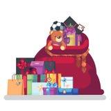 Borsa piena dei regali da Santa Claus Elemento decorativo di Natale isolato piano dell'illustrazione di vettore su un fondo bianc illustrazione vettoriale
