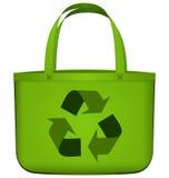 Borsa riutilizzabile verde con il riciclaggio del vettore di simbolo Fotografie Stock Libere da Diritti