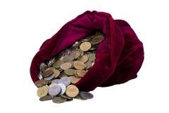 Borsa rossa con soldi Fotografia Stock Libera da Diritti