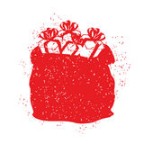Borsa rossa di Santa Claus nello stile di lerciume Spruzzo e graffi Immagine Stock