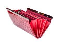 Borsa rossa su fondo isolato bianco Fotografia Stock