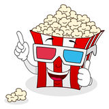 Borsa a strisce del popcorn con i vetri 3d Immagine Stock