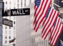 Borsa valori del segnale stradale del Wall Street NY Fotografia Stock Libera da Diritti