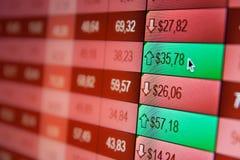 Borsa valori in linea di dati finanziari Fotografie Stock
