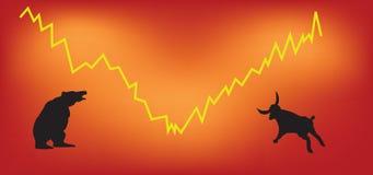 Borsa valori: Orsi contro i tori Fotografia Stock Libera da Diritti