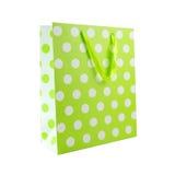 Borsa verde del regalo del pois Fotografie Stock Libere da Diritti