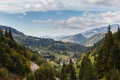 Borsa. A view through mountain valley, with Borsa village, Maramures county, Romania Stock Image