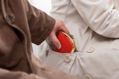 Borsaiolo che ruba un portafoglio Fotografie Stock Libere da Diritti