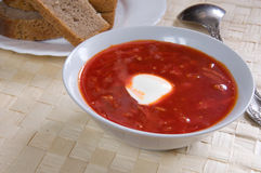 Borsch. Close up of plate with borsch Royalty Free Stock Photo