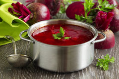 Borsch with beets. Stock Photos