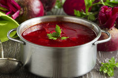borsch with beets. Royalty Free Stock Photography