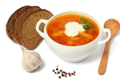 Borsch borscht borshch in plate with wood spoon isolated on white royalty free stock photo