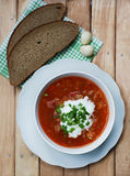 Borsch, bread and garlic Royalty Free Stock Images