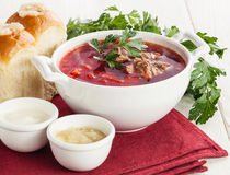Borsch with bread pampushki Stock Photo