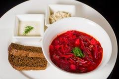 Borsch con fraiche, manteca de cerdo y pan de la nata Imagen de archivo libre de regalías
