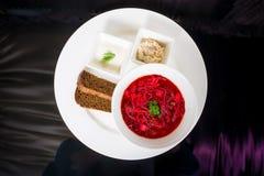 Borsch con fraiche, manteca de cerdo y pan de la nata Foto de archivo libre de regalías