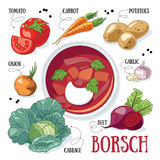 Borsch cooking. Russian traditional vegetable soup - borsch and its ingredients stock illustration