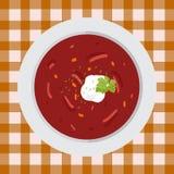 Borsch de la sopa con perejil y crema agria Imagenes de archivo