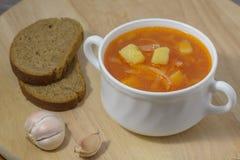 borsch della minestra con il pane di segale Fotografia Stock Libera da Diritti