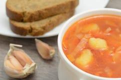 borsch della minestra con il pane di segale Immagini Stock