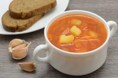 borsch della minestra con il pane di segale Immagine Stock