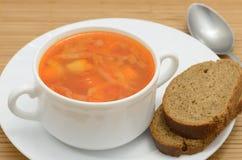 borsch della minestra con il pane di segale Immagine Stock Libera da Diritti