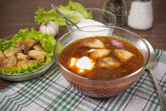 Borsch with ears from the test Royalty Free Stock Photography