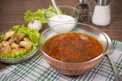 Borsch with ears from the test Royalty Free Stock Photo