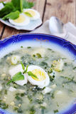 Borsch with eggs. Green borsch with nettles, sorrel and boiled eggs Royalty Free Stock Photo