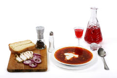 Borsch and fat. Borsch and the fat, traditional dish of ethnic cuisine of the slavic people Stock Images