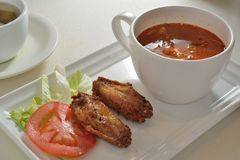 Borsch Fried Chicken Wing Royalty Free Stock Photos