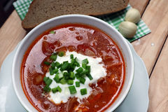 Borsch with greens. National Ukrainian dish - borsch, soup with cabbage Royalty Free Stock Image