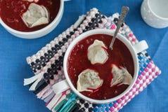 Borsch national d'Ukrainien et russe de betteraves avec du Cl de boulettes Photos stock