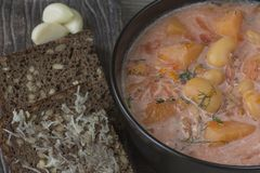 Borsch. National Ukrainian Dish - Ukrainian Borsch Stock Photo