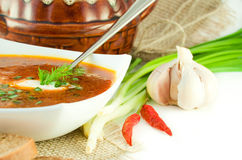 Borsch, onion with garlic Stock Image