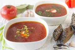 Borsch röd soppa, varm första kurs, bröd, tomat, mat royaltyfri fotografi