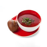 Borsch in a red bowl Royalty Free Stock Photo