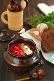 Borsch - russian national red soup. Royalty Free Stock Images