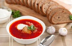 Borsch. Russian national red soup Stock Photos