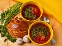 Borsch - sopa de beterrabas tradicional do russo Foto de Stock