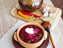 Borsch soppa från en beta Arkivfoton