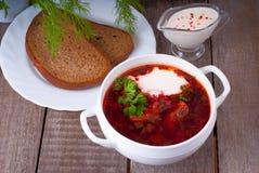 Borsch, soppa från en beta, kött och kål med tomatsås royaltyfri foto