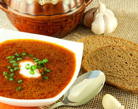 Borsch, soup from a beet and cabbage. With tomato sauce. Ethnic cuisine stock photography