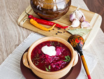 Borsch, soup from a beet. Meat and cabbage with tomato sauce. Ukrainian and russian national cuisine stock photos