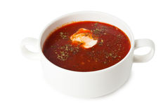 Borsch in soup bowl. Isolated on white background royalty free stock photos