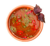 Borsch soup isolated on white. Top view Royalty Free Stock Photo