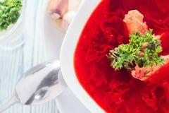 Borsch-soup of Russian and Ukrainian cuisine. Selective focus stock images